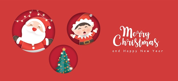 Merry christmas and happy new year banner with cute santa clause and friends.