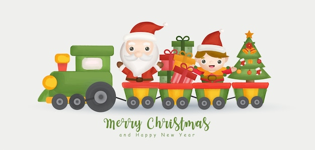 Merry christmas and happy new year banner with cute santa and friends.