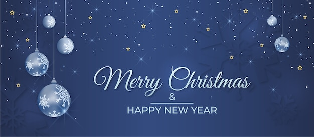 Merry christmas and happy new year banner with decorative balls and snow falling