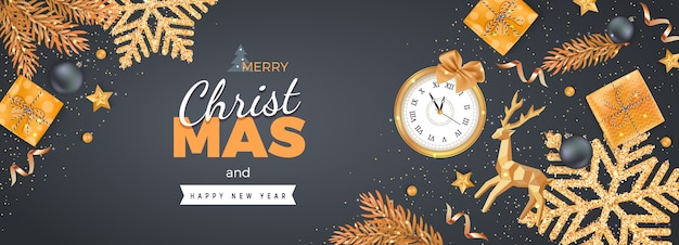 Merry christmas happy new year banner with gold decorations, realistic elements