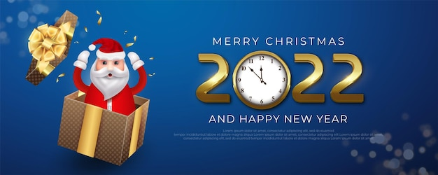 Merry christmas and happy new year banner with illustration of santa claus cheering happily out of the gift box