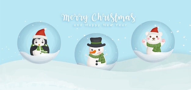 Merry christmas and happy new year banner with snowman ,penguin and bear.