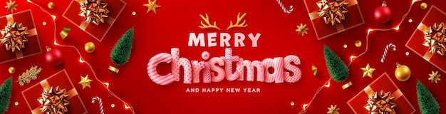 Merry christmas amp happy new year banner
