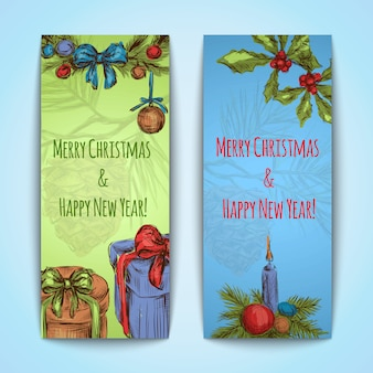 Merry christmas and happy new year banners vertical