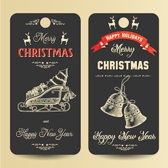 Merry christmas and happy new year banners with hand drawn symbols of christmas