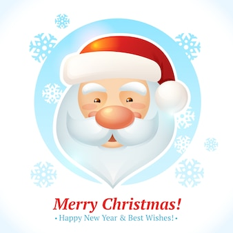 Merry christmas, happy new year and best wishes greeting card with santa claus head portrait vector illustration
