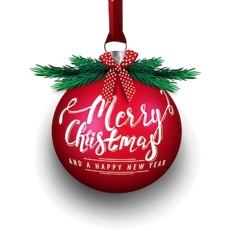 Merry christmas and happy new year, big red christmas ball with lettering isolated on white background