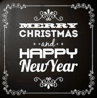 Merry christmas and happy new year  over black background  vector illustration