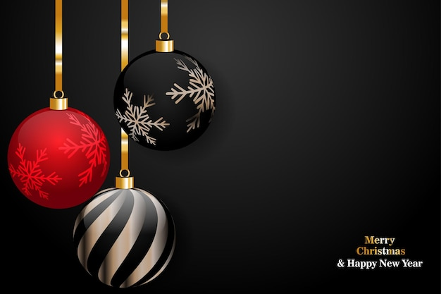 Merry christmas and happy new year on black background with christmas ball