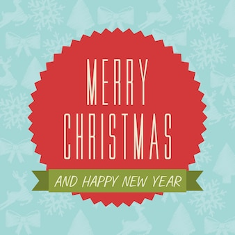 Merry christmas and happy new year  over blue background  vector illustration