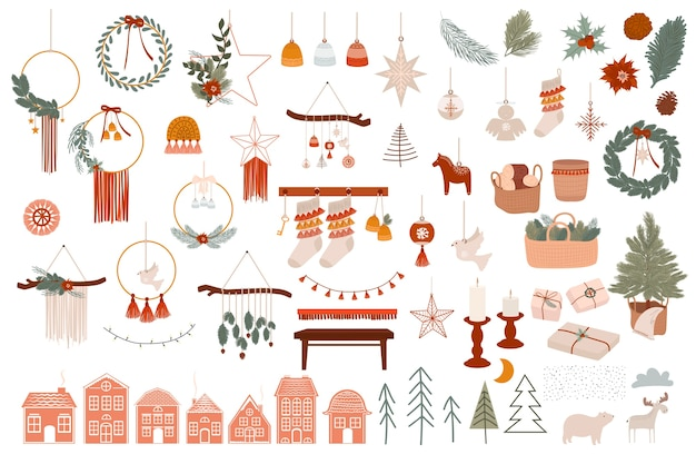 Merry christmas or happy new year boho elements winter holidays element in scandinavian style cozy hygge home decor elements