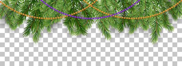 Merry christmas and happy new year border of tree branches and garland beads