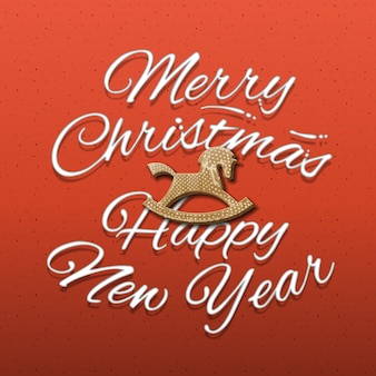 Merry christmas and happy new year calligraphic inscription, red background,