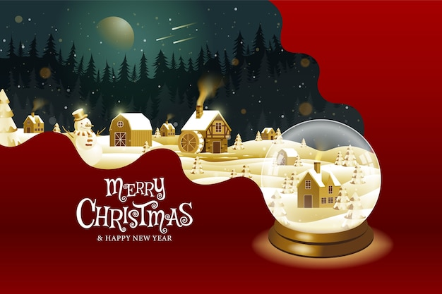 С рождеством, с новым годом, каллиграфия, золото, пейзажная фантазия.