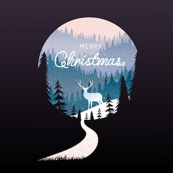 Merry christmas, happy new year, calligraphy, landscape winter