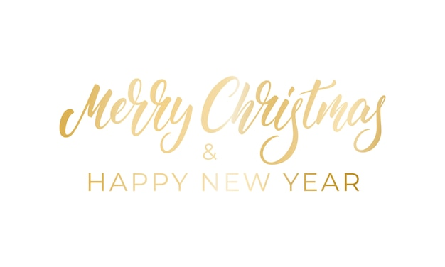 Merry christmas and happy new year, calligraphy lettering badge design for winter xmas and new year