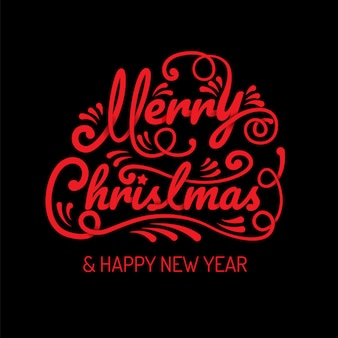 Merry christmas, happy new year, calligraphy, sign & symbol