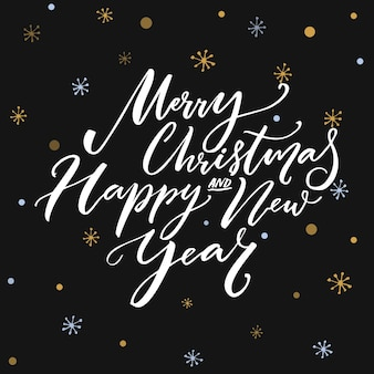 Merry christmas and happy new year calligraphy text on dark vector background with snowflakes. greeting card design with typography.