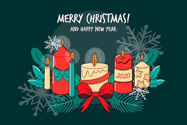Merry christmas and happy new year candle collection