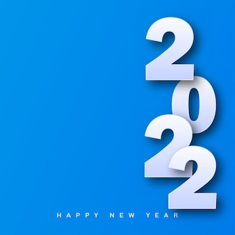 Merry christmas and happy new year card 2022 on blue background. vector