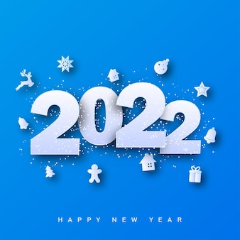 Merry christmas and happy new year card 2022 with xmas ornaments on blue background. vector illustration
