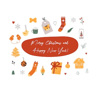 Merry christmas and happy new year. card. cute, flat style. vector illustration.
