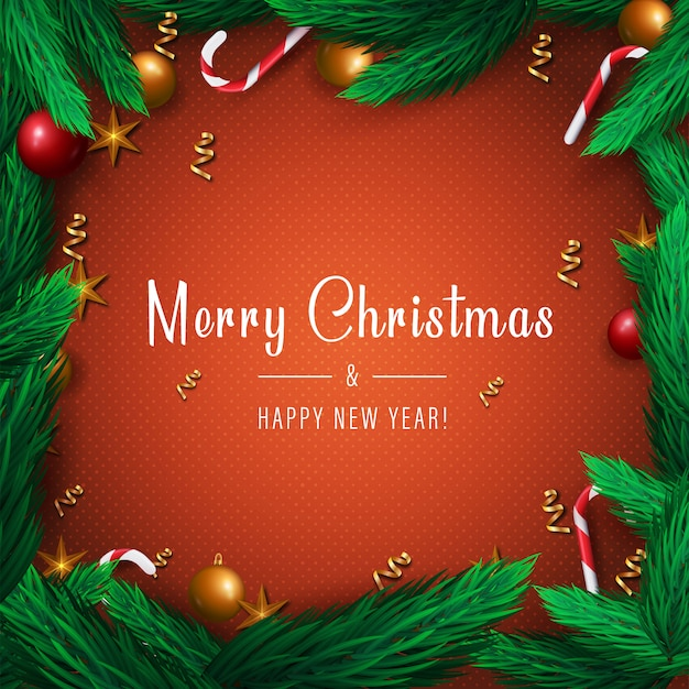 Merry christmas and happy new year card on red background with pine tree branches, candies and stars