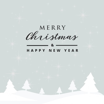 Merry christmas and happy new year card with beautiful snowflakes