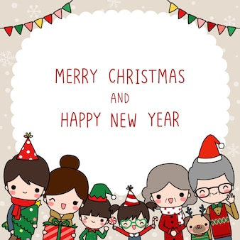 Merry christmas and happy new year card with big family