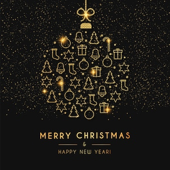 Merry christmas and happy new year card with golden christmas ball