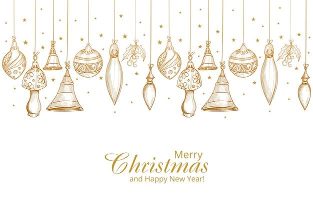 Buon natale e felice anno nuovo carta con decorazioni dorate