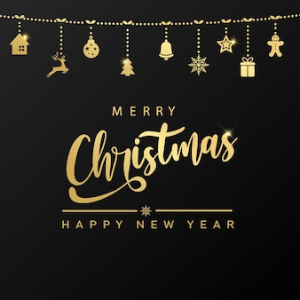 Merry christmas and happy new year card with golden text and hanging ornaments. vector.