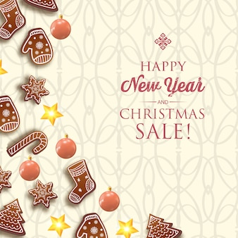 Merry christmas and happy new year card with greeting inscription and traditional symbols on light