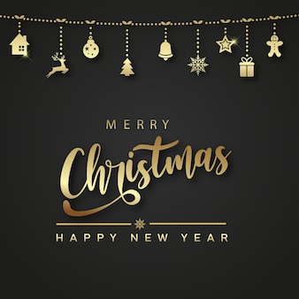 Merry christmas and happy new year card with hanging gold xmas ornaments. vector