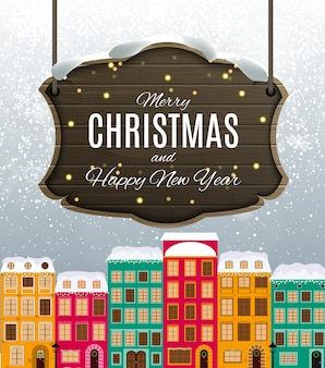 Merry christmas and happy new year card with little town in retro style.