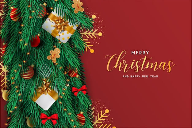 Merry christmas and happy new year card with realistic decoration elements