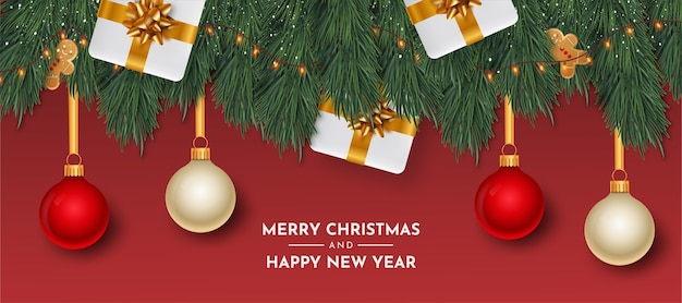 Merry christmas and happy new year card with realistic objects