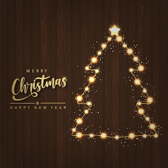 Merry christmas and happy new year card with sparkle magic xmas tree light. vector