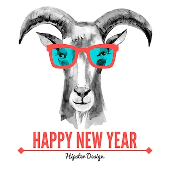 Merry christmas and happy new year card with watercolor portrait of hipster goat. hand drawn vector illustration