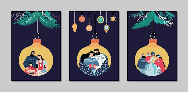 Merry christmas and happy new year cards collection set