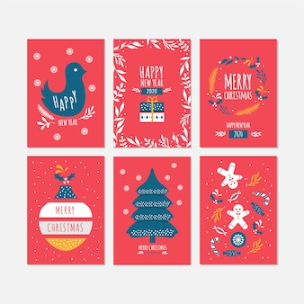 Merry christmas and happy new year celebration cards