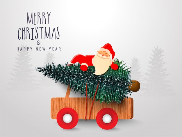 Merry christmas & happy new year celebration greeting card  with cute santa claus holding xmas tree on pickup truck.