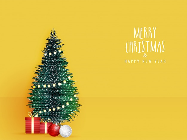 Merry christmas & happy new year celebration greeting card  with decorative xmas tree, gift boxes and baubles on yellow .