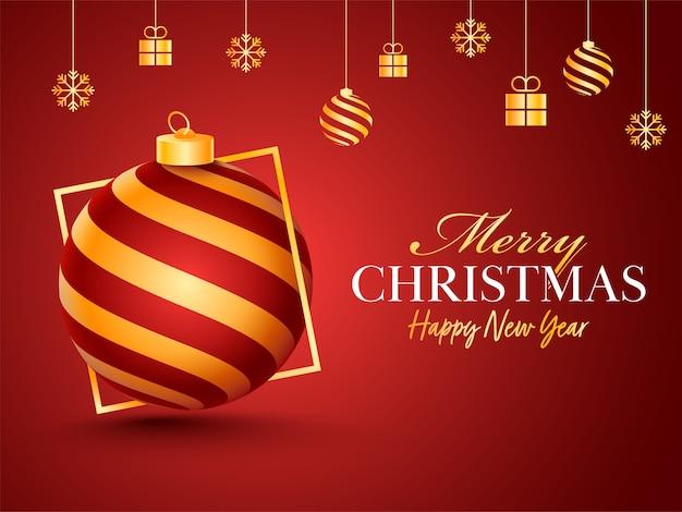 싸구려, 선물 상자와 눈송이 메리 크리스마스 & 해피 뉴가 어 축하 포스터는 빨간색 배경에 만요.