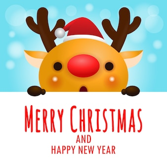 Merry christmas and happy new year, cheerful of reindeer wearing christmas hats