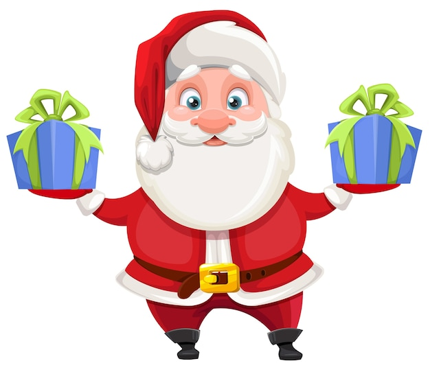 Merry christmas and happy new year. cheerful santa claus holding two gift boxes