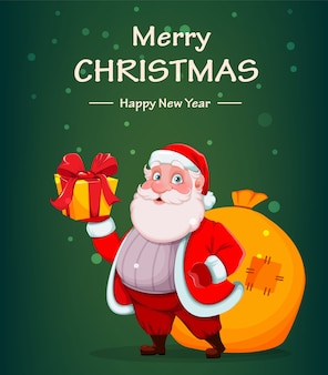 Merry christmas and happy new year. cheerful santa claus