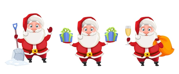 Merry christmas and happy new year cheerful santa claus
