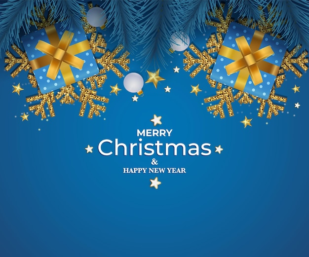 Merry christmas and happy new year christmas background with decorations and gift boxes