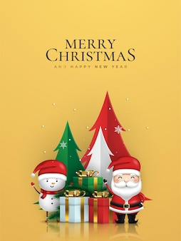 Merry christmas and happy new year christmas banner of santa claus and snowman